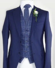 Navy Suit Blue Check Waistcoat