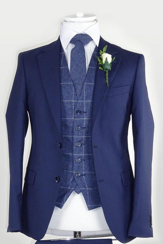Navy Suit Blue Check Waistcoat