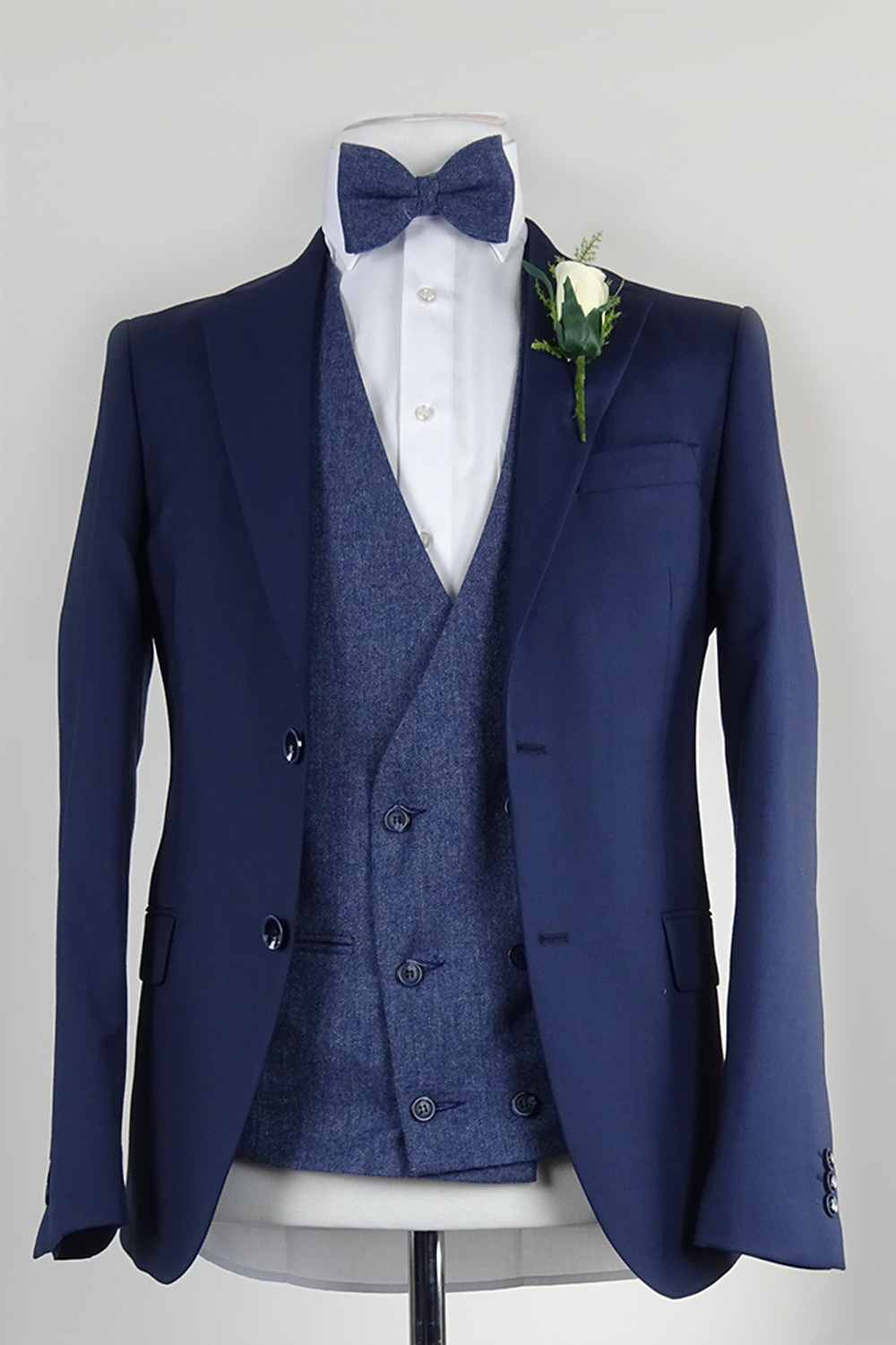 Navy Suit Blue Double Breasted Waistcoat Rental Option 120 Euro