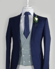 Navy Suit grey check vest