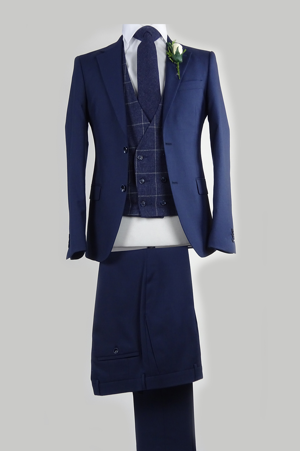 navy suit midnight navy check double breasted waistcoat