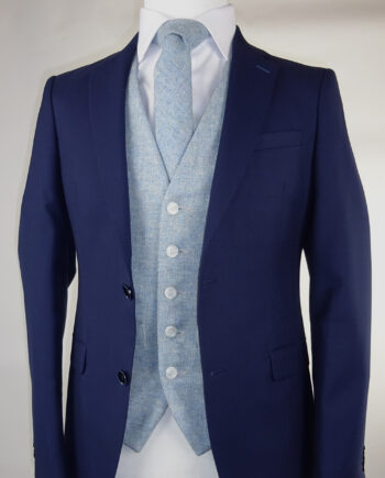 Navy Suit Sky Blue Tweed Waistcoat