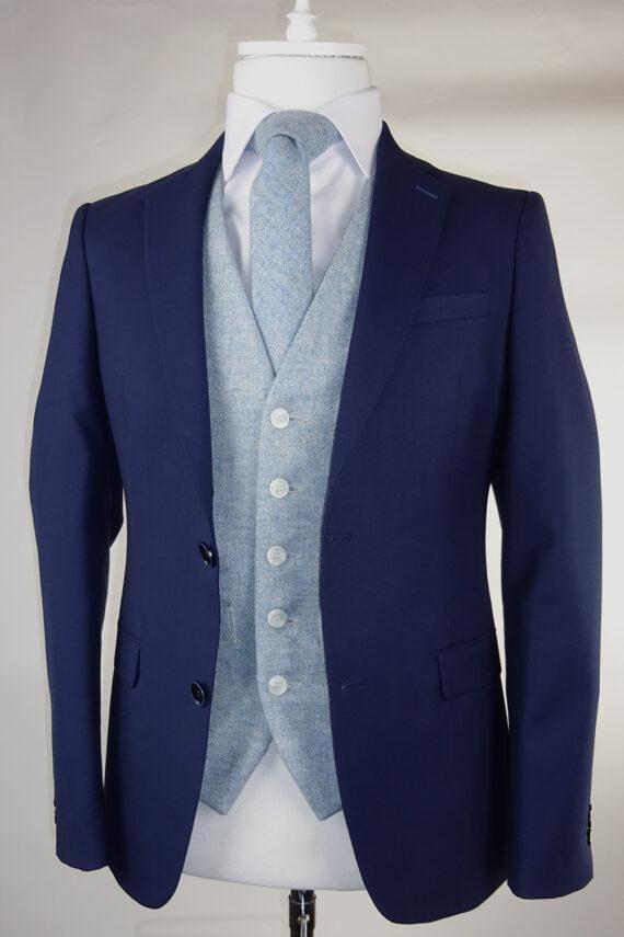 Navy Suit Sky Blue Tweed Waistcoat