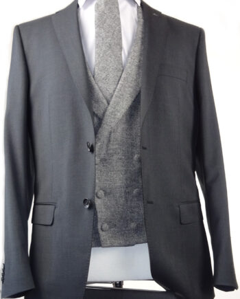 Van Gils grey suit grey double breasted tweed waistcoat