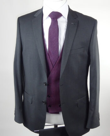 Grey Suit Burgundy Waistcoat