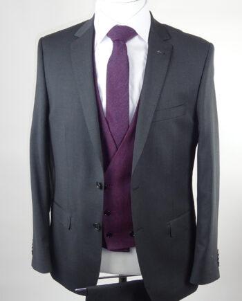 Grey Suit Burgundy Waistcoat
