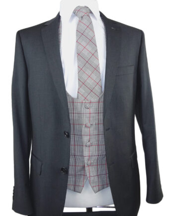 Prince of Wales Burgundy Check Waistcoat