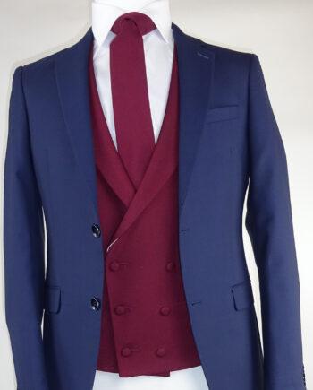 Navy Suit Ascott Wine Double breasted Waistcoat