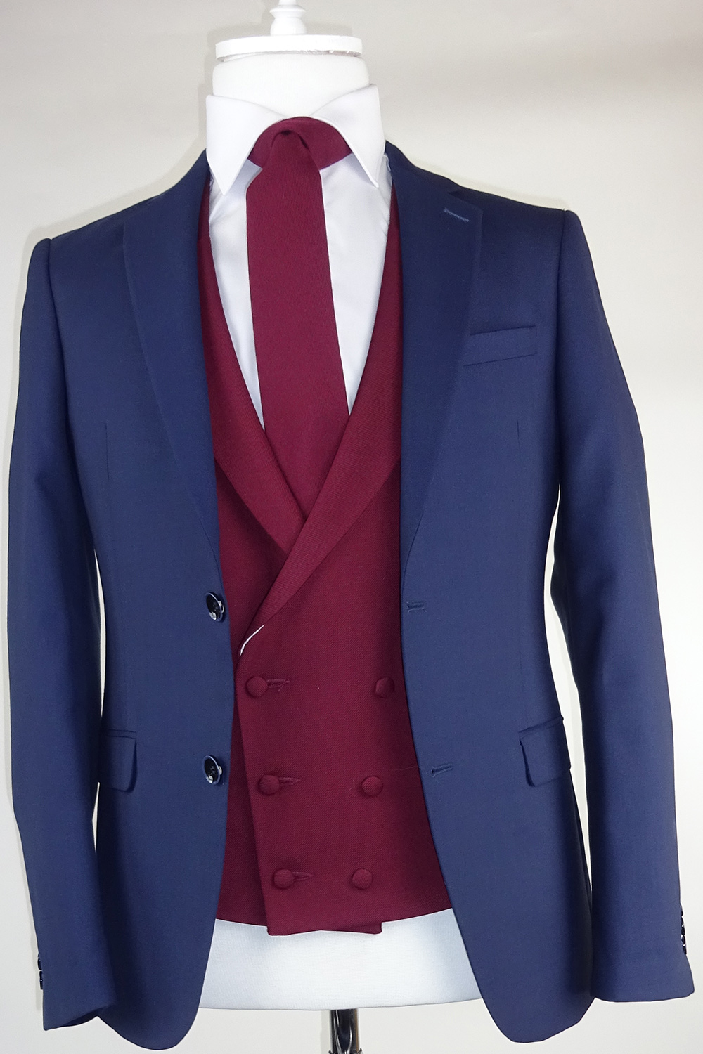 Navy Suit Ascott Wine Double breasted Waistcoat