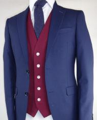 Navy Suit Ascott Wine Waistcoat