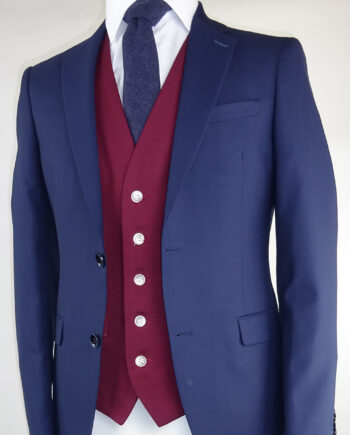 Navy Suit Ascott Wine Waistcoat