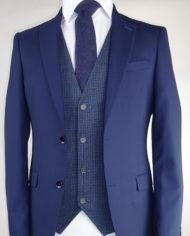 Navy Suit Dolby Navy Dice Waistcoat