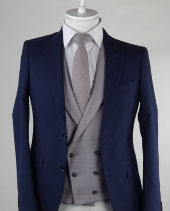 Navy Suit Grey Ascott Double breasted Waistcoat