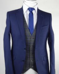 Navy Suit Essex Grey Check Waistcoat
