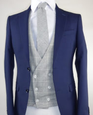 Navy Suit Grey Check Lambswool Double breasted Waistcoat