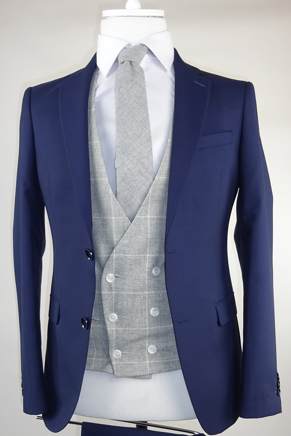 Grey Check Lambswool Double breasted Waistcoat