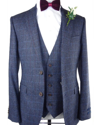 Sky Burgundy Check Waistcoat