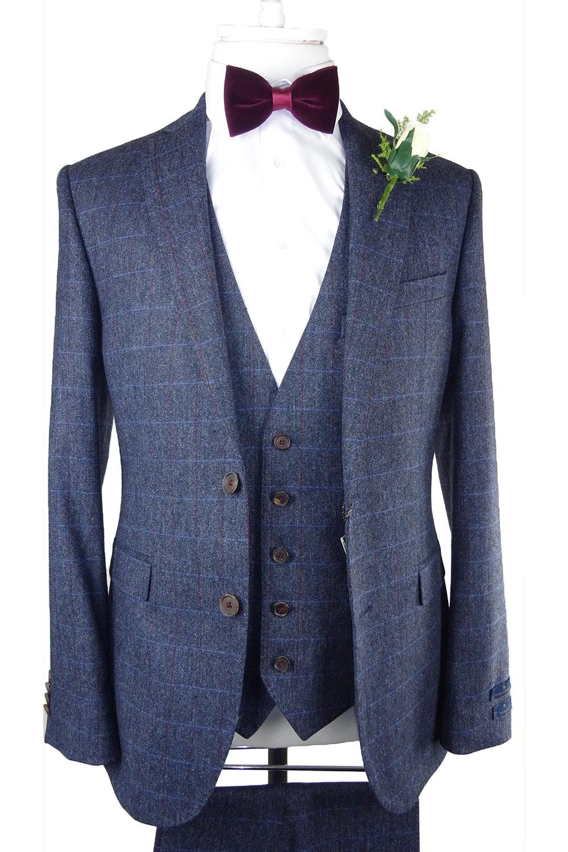 Sky Burgundy Check Waistcoat