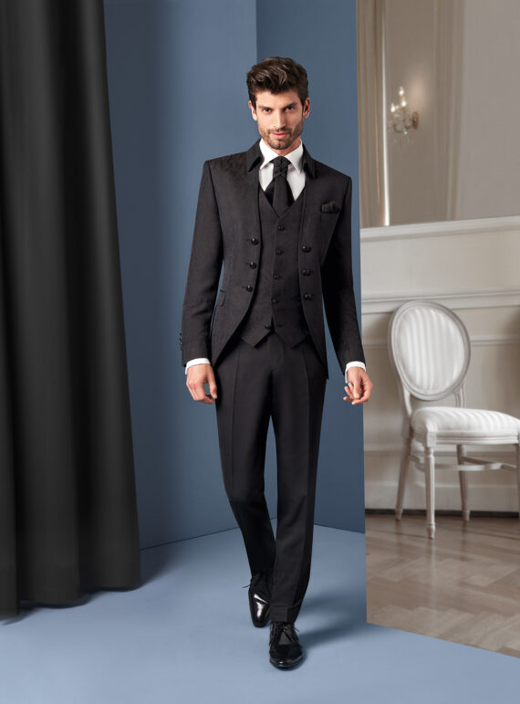 Black Brocade 3 piece Wedding Suit