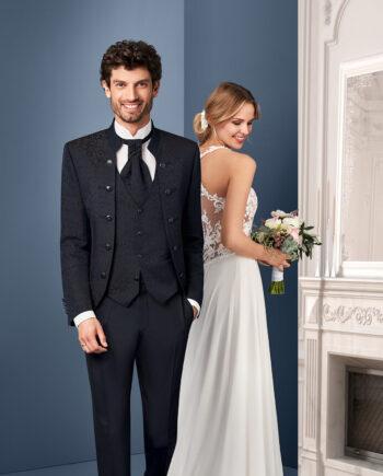 Black Jacquard 3 piece Wedding Suit