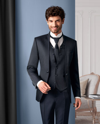 Black contrast 3 piece Wedding Suit