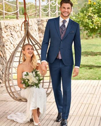 Blue 3 Piece Wedding Suit Contrast Waistcoat