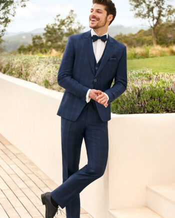 Blue Check 3 Piece Wedding Suit