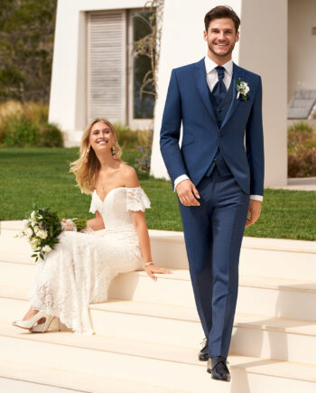 Blue Contrast 3 piece Wedding Suit