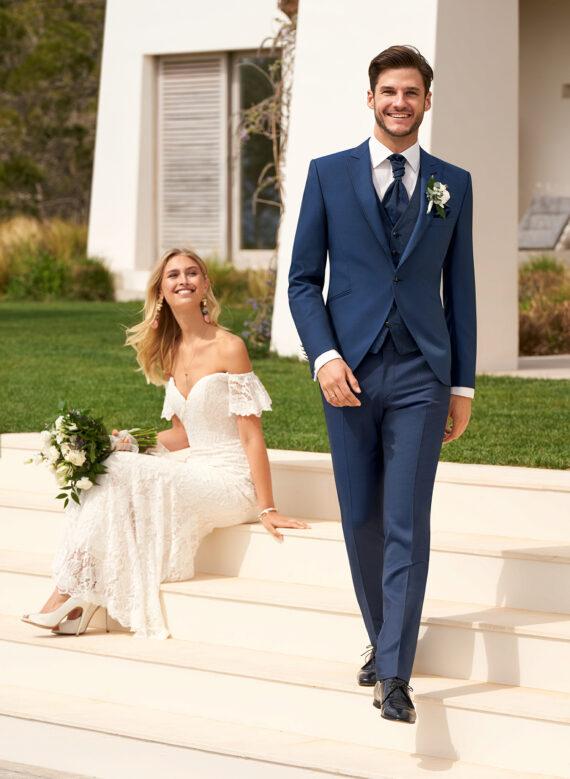 Blue Contrast 3 piece Wedding Suit