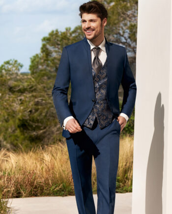 Blue 3 Piece Wedding Suit