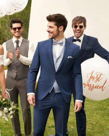 Blue one button 3 piece Wedding Suit