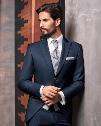 Blue sheen 3 piece Wedding Suit