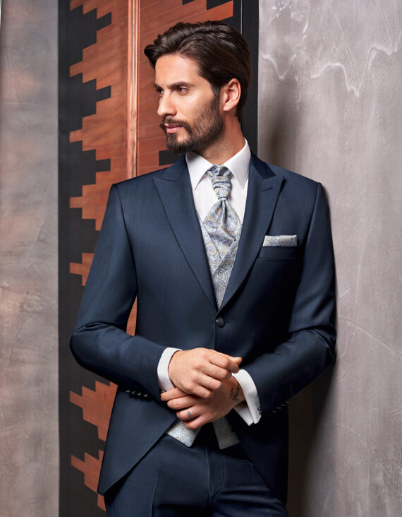 Blue sheen 3 piece Wedding Suit