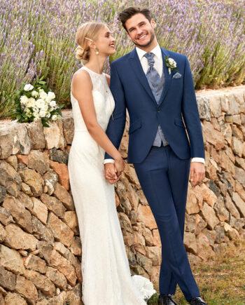 Blue Wedding Suit Paisley Waistcoat