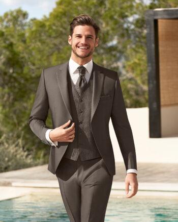 Brown Wedding Suit Paisley Waistcoat