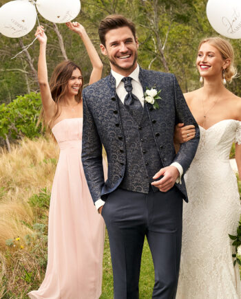 Grey Gold Jacquard 3 piece Wedding Suit