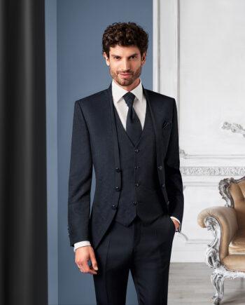 Royal Black Contrast 3 piece Wedding Suit