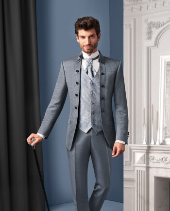 Royal Silver 3 piece Wedding Suit