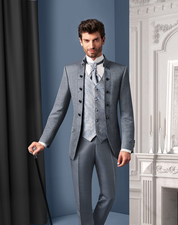 Royal Silver 3 piece Wedding Suit