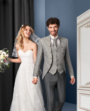 Silver Gold Royal 3 piece Wedding Suit