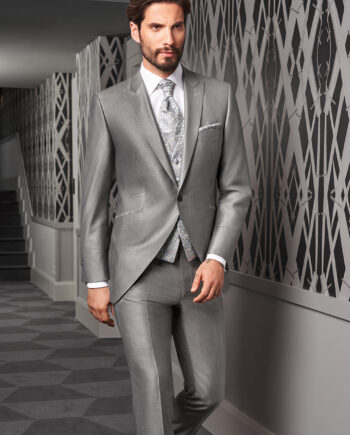 Silver sheen 3 piece Wedding Suit