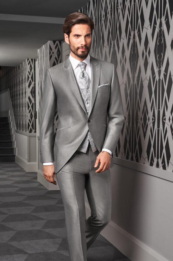 Silver sheen 3 piece Wedding Suit