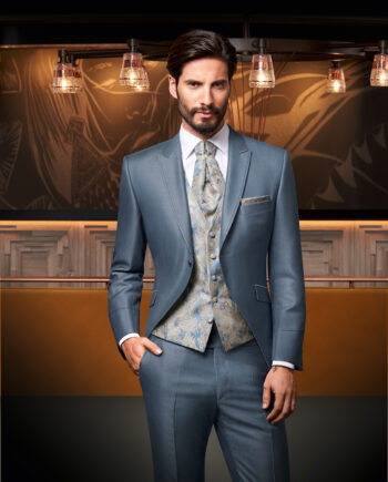 Steel Blue 3 piece Wedding Suit