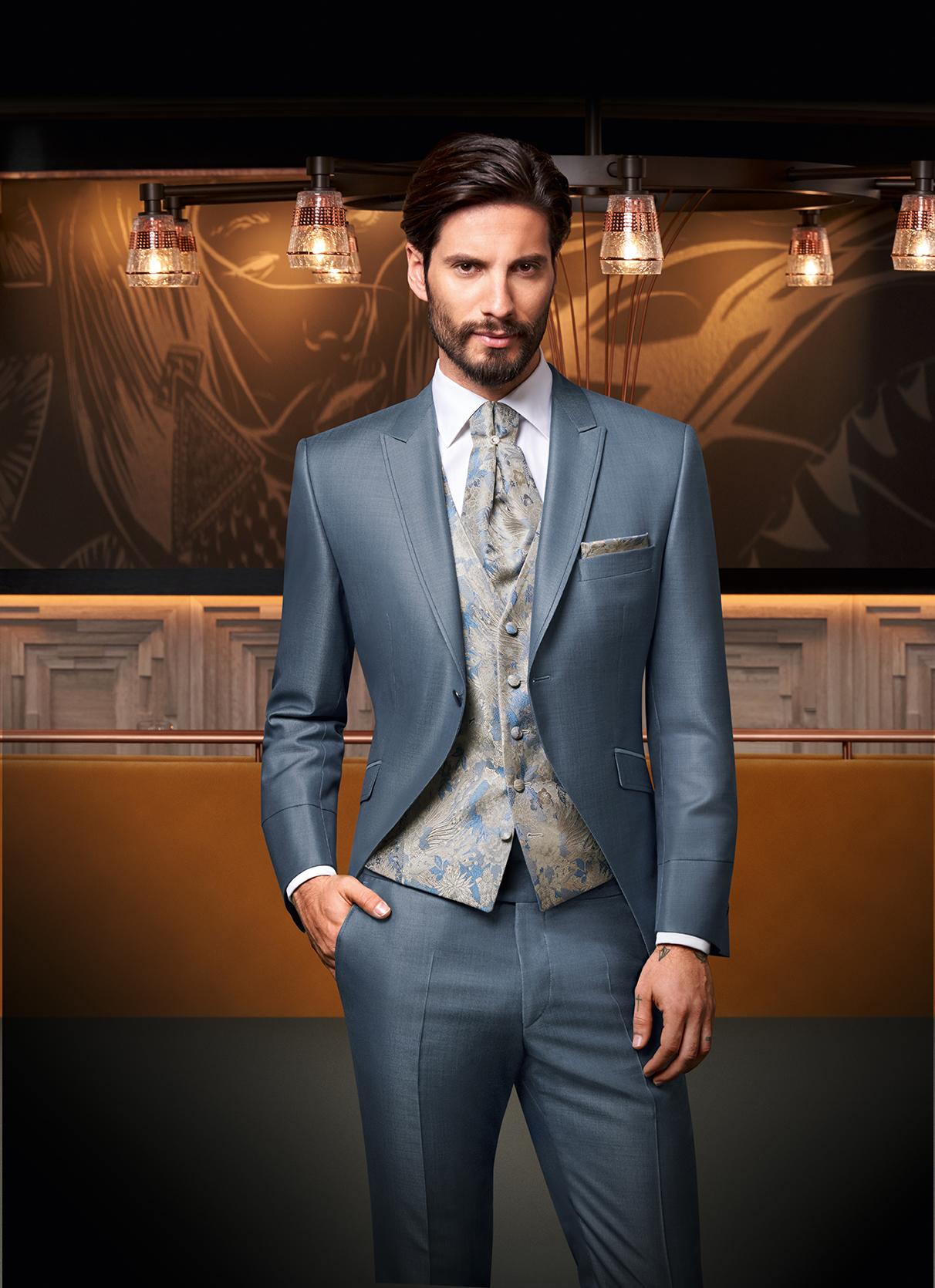 Steel Blue 3 piece Wedding Suit