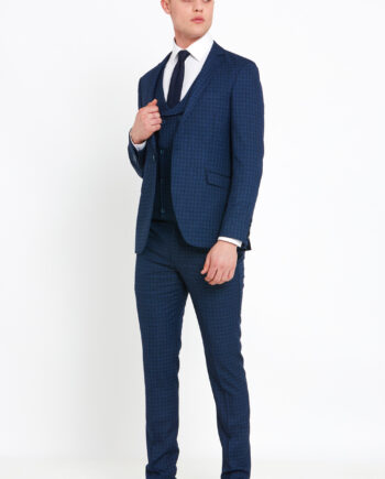 Rufus Navy Check 3 Piece Suit