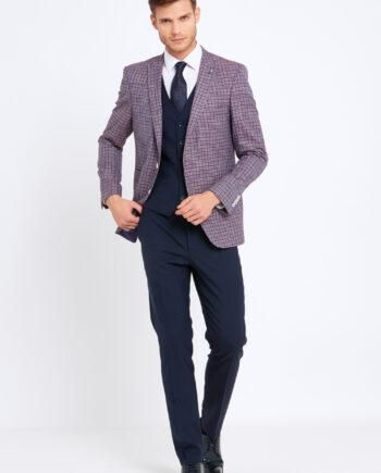 Darcy Wine Check 3 Piece Suit
