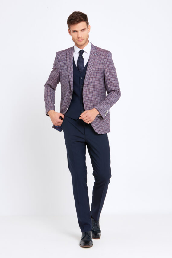 Darcy Wine Check 3 Piece Suit