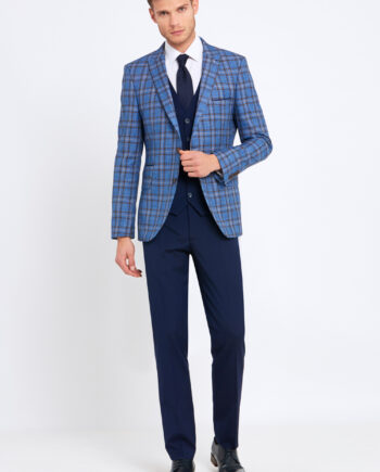 Errol Royal Blue Check 3 Piece Suit