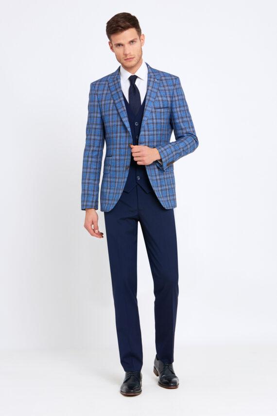 Errol Royal Blue Check 3 Piece Suit
