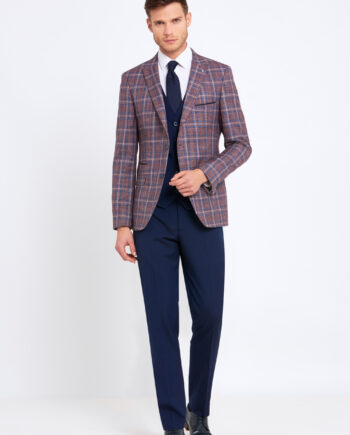 Errol Wine Check 3 Piece Suit